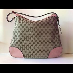 Gucci Canvas and Pink Leather Bag